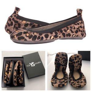 NWT Yosi Samra Cheetah Haircalf Samara Ballet Flat